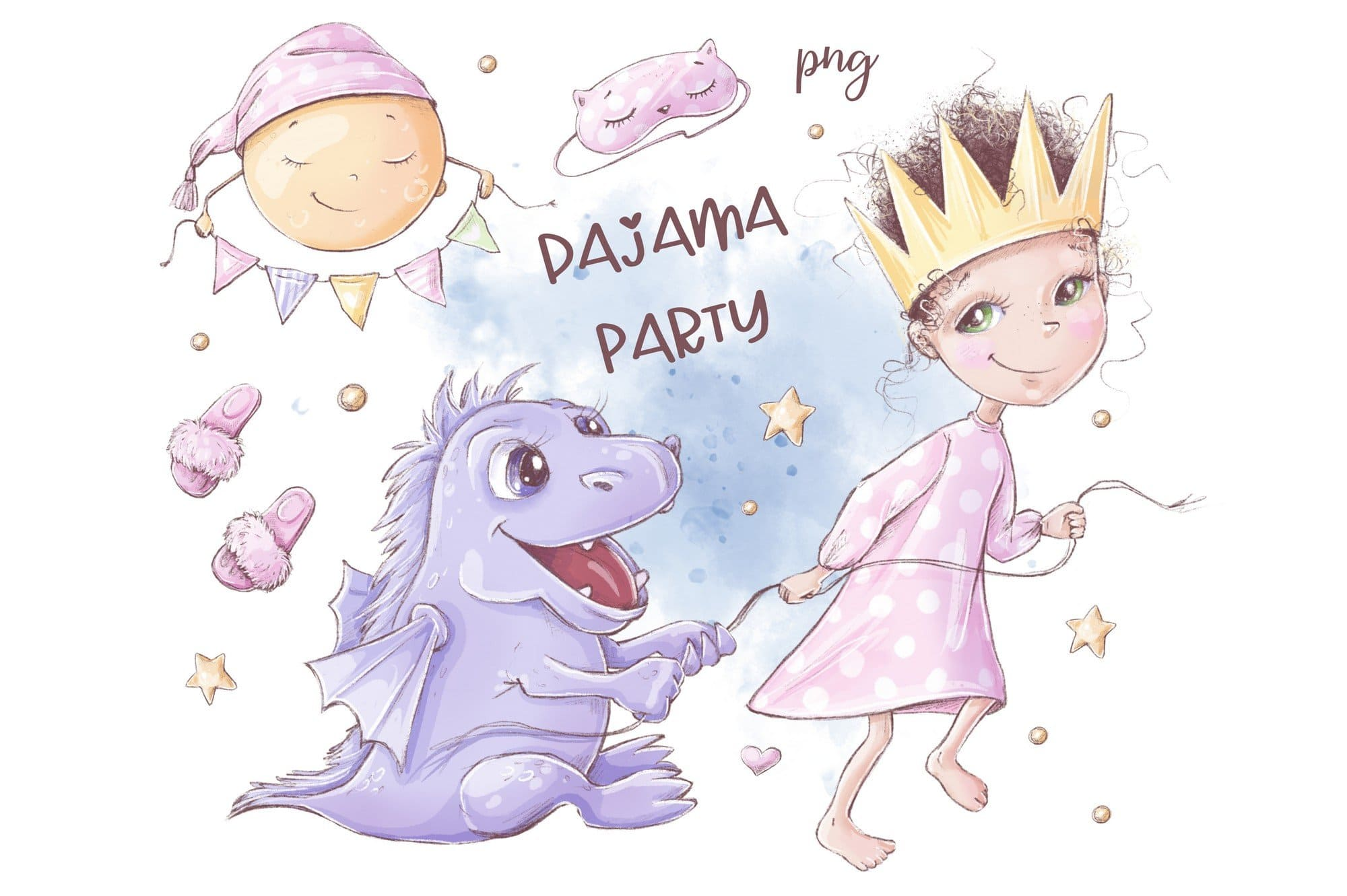 Pajama party with dragons and smiling moon.