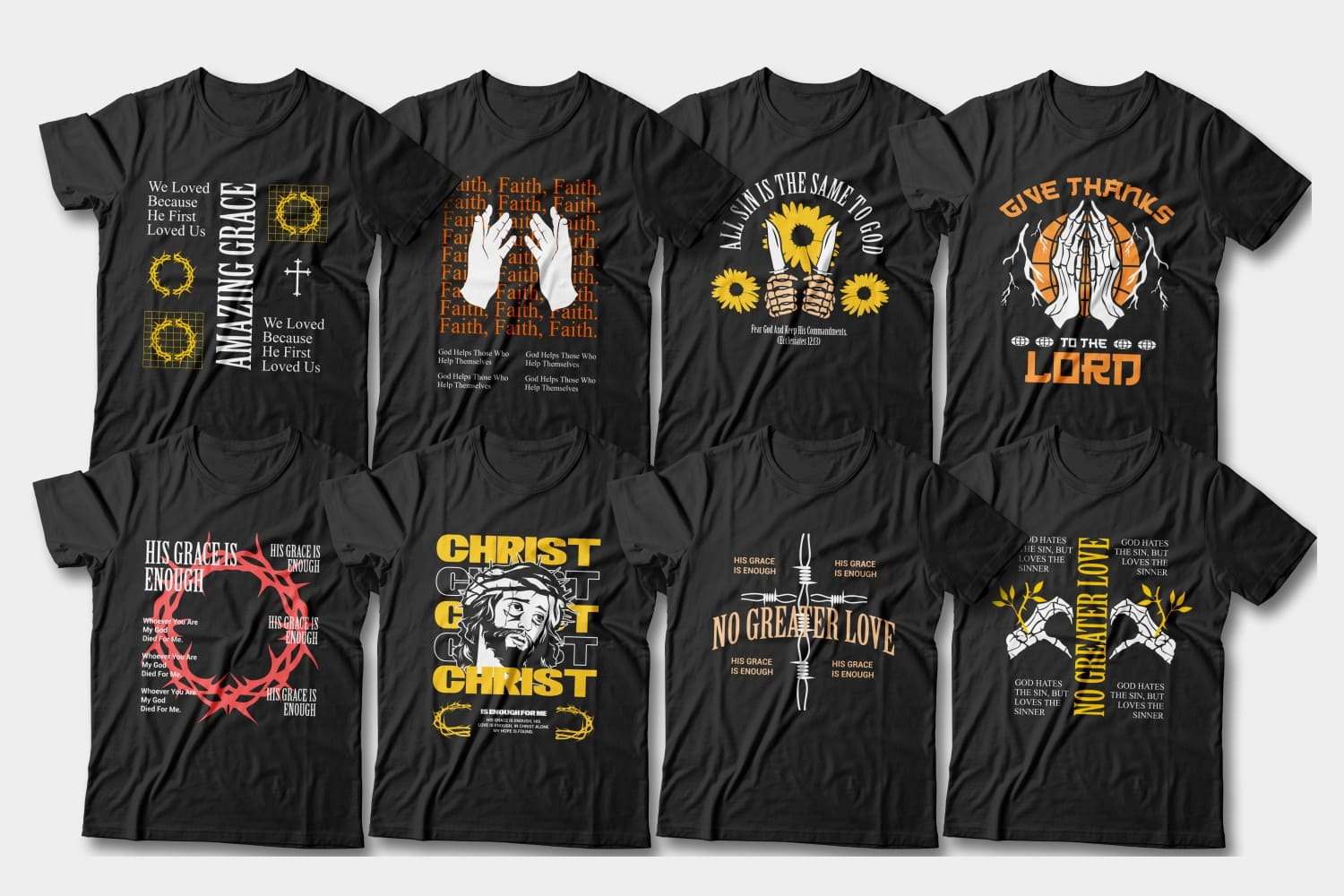 Christian t-shirts with modern graphic end motivated phrases.
