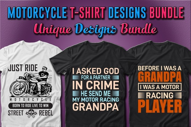 T-shirts with phrases about motorcycle and road.