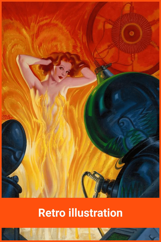 Beautiful women in the fire.