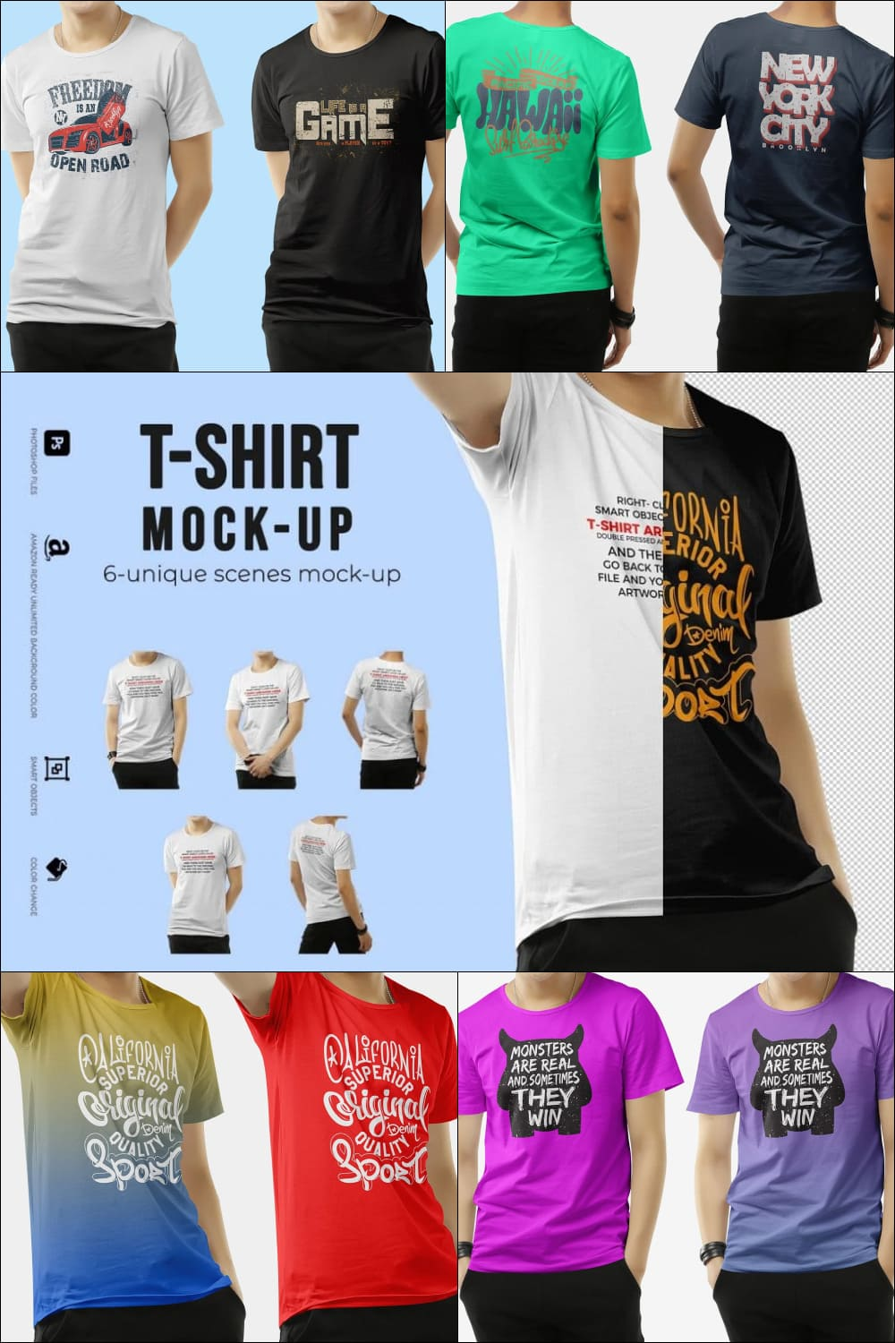 Classic t-shirts with cute illustrations.