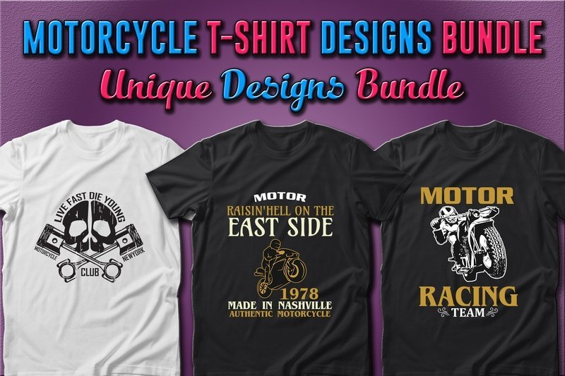 T-shirts with vintage motorcycle.