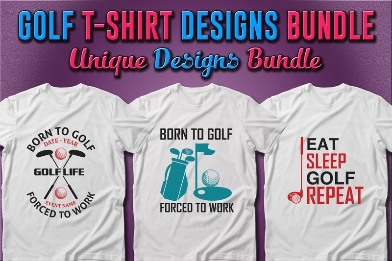 White T-shirts with essential golf accessories.