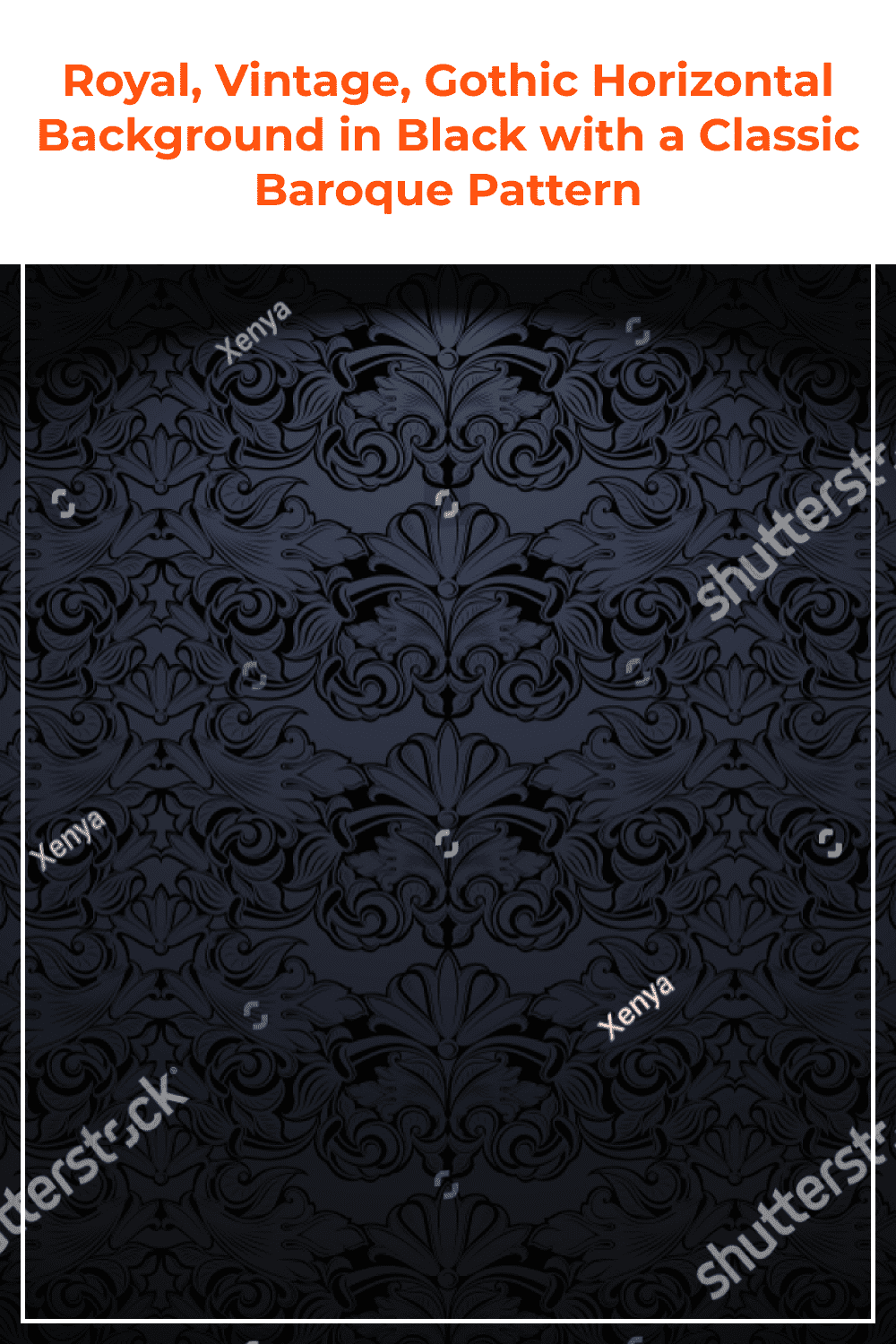 Gothic horizontal background in black with a classic Baroque pattern.