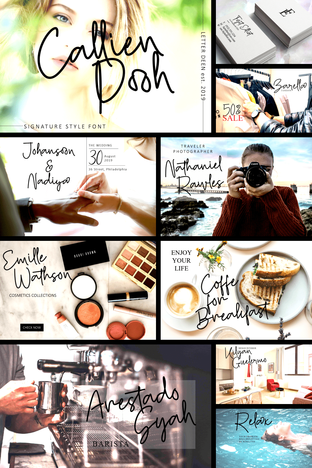 Callien Pooh is a signature font, with sweet touches and beautiful curves on each letter. This font is great for your next creative project.