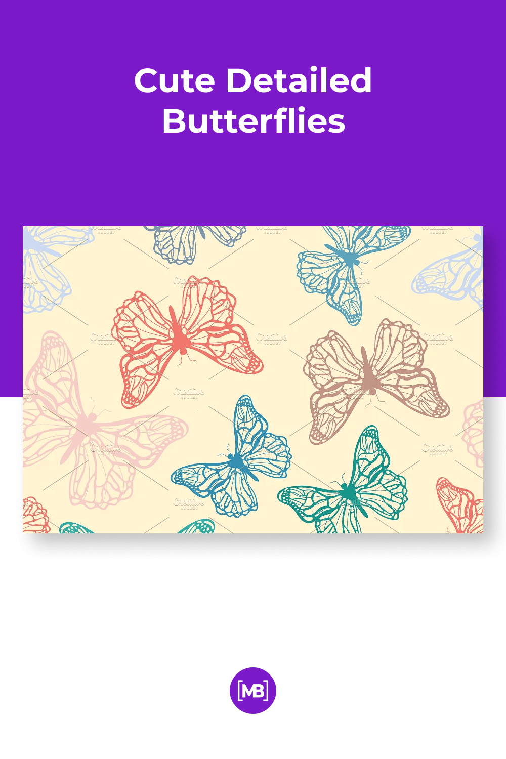 Thin and hand drawn butterflies.