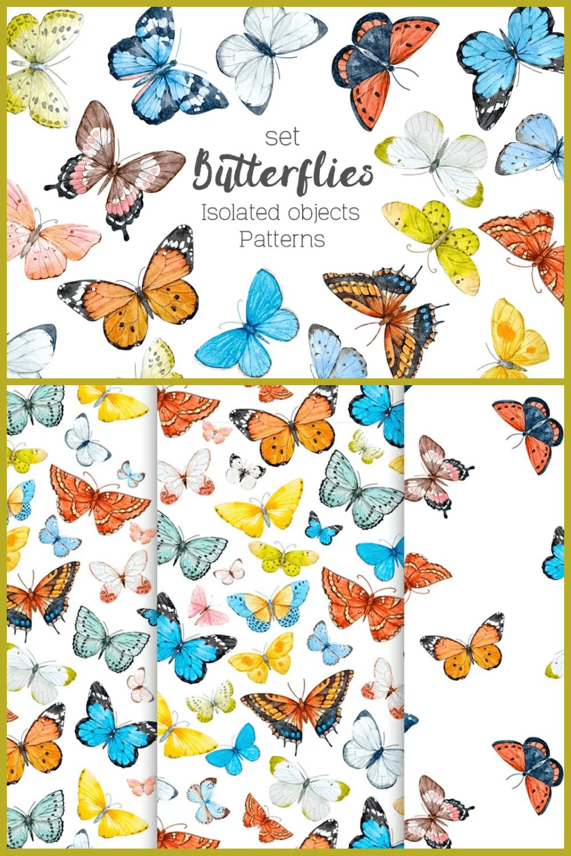 Beautiful watercolor butterflies.