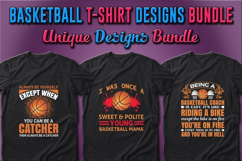 Dark t-shirts with graphics and font in classical colors  for basketball.
