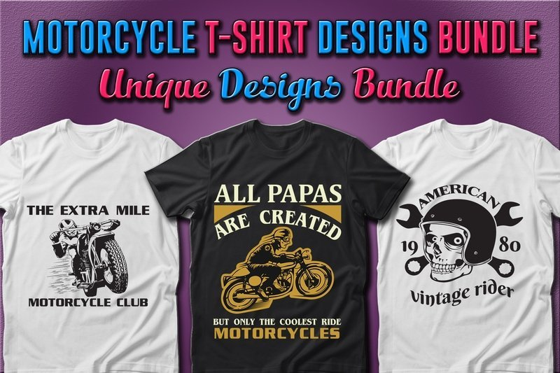 Two white and one black t-shirts with motorcycle and scull.