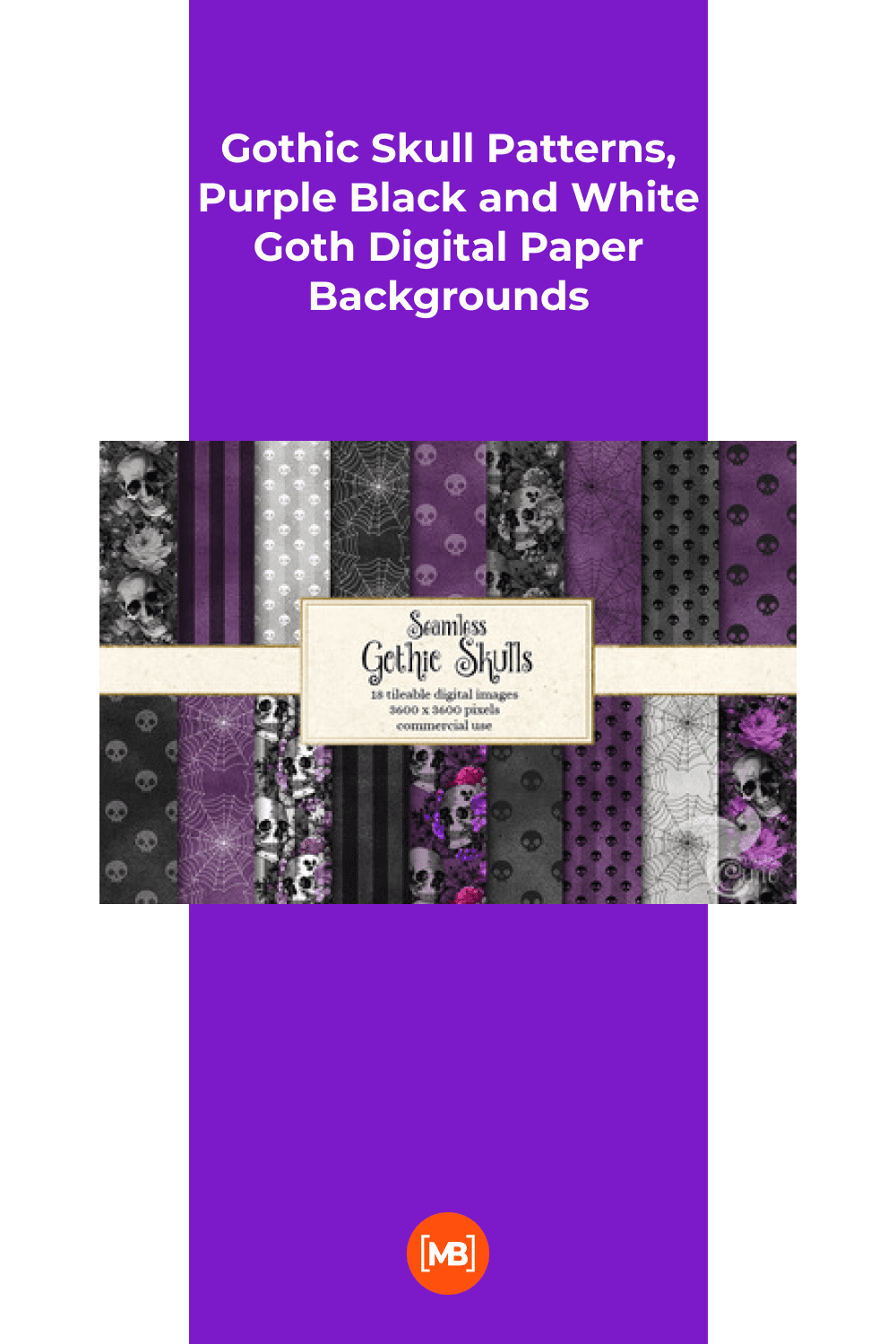 Gothic skull patterns, purple black and white goth digital paper backgrounds.