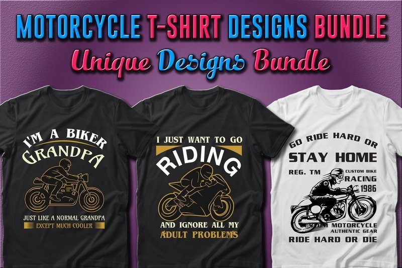 T-shirts with motorcyclist.