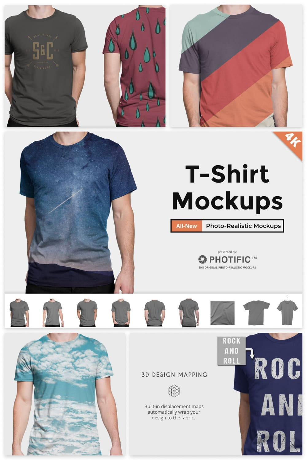 T-Shirts with lines and stars.