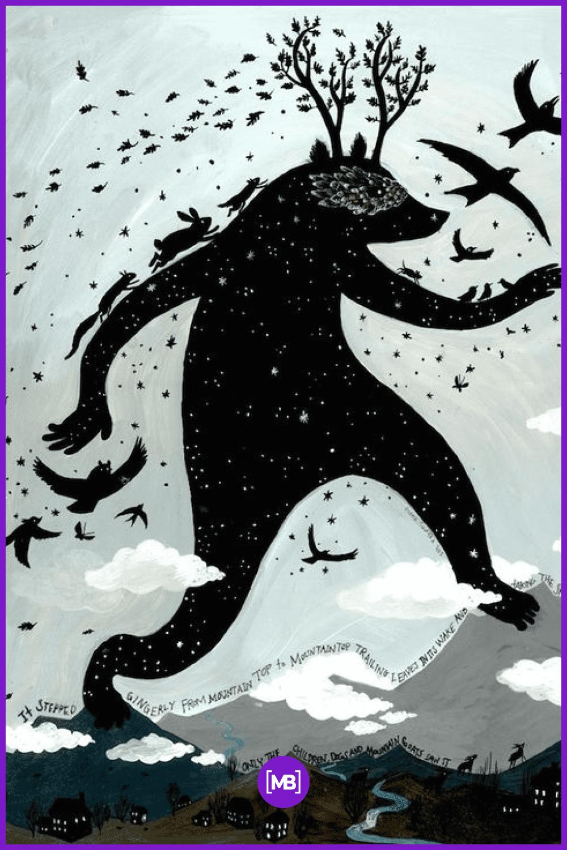 Big black monster at night.