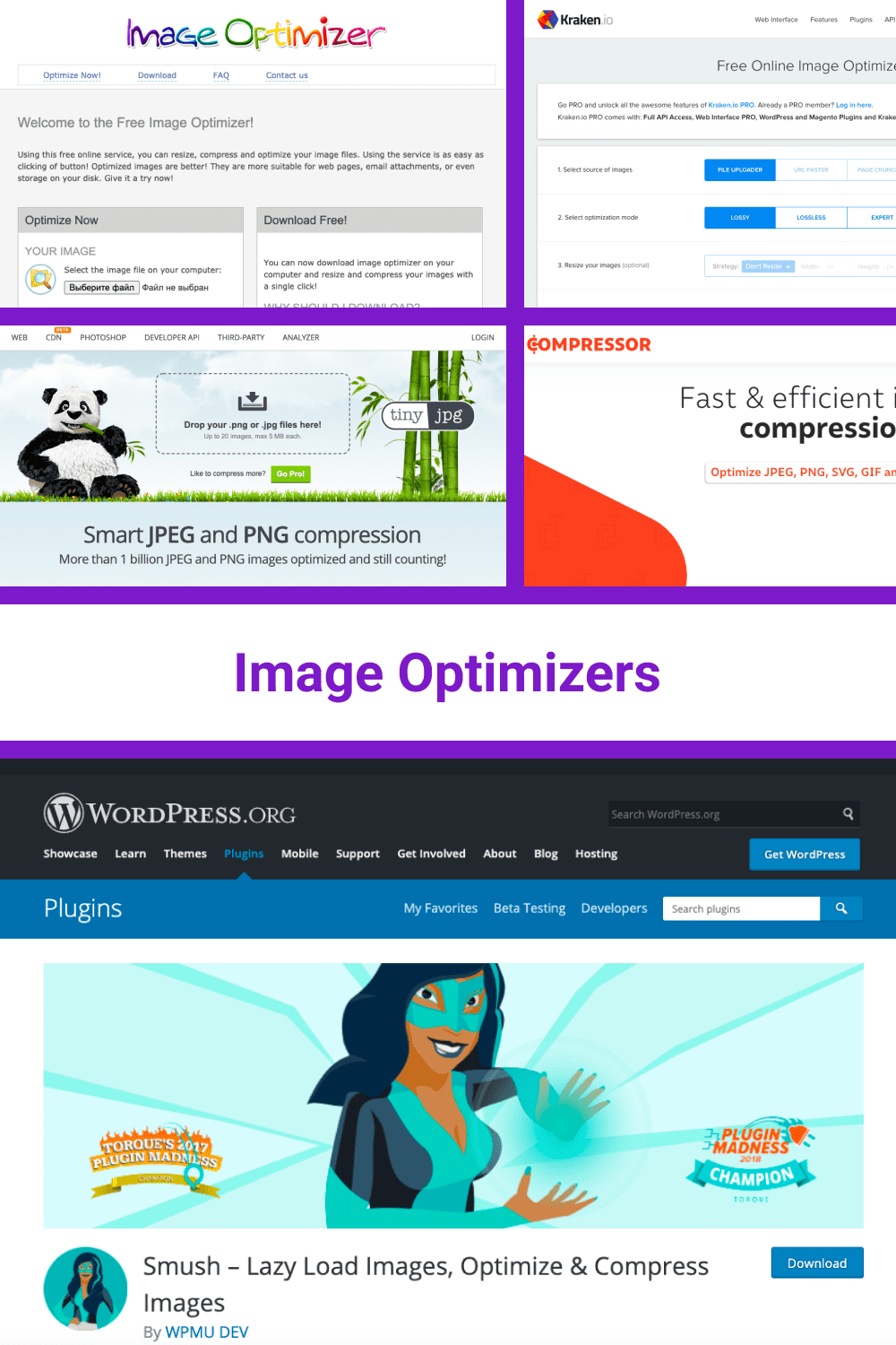 Tools for image optimization.