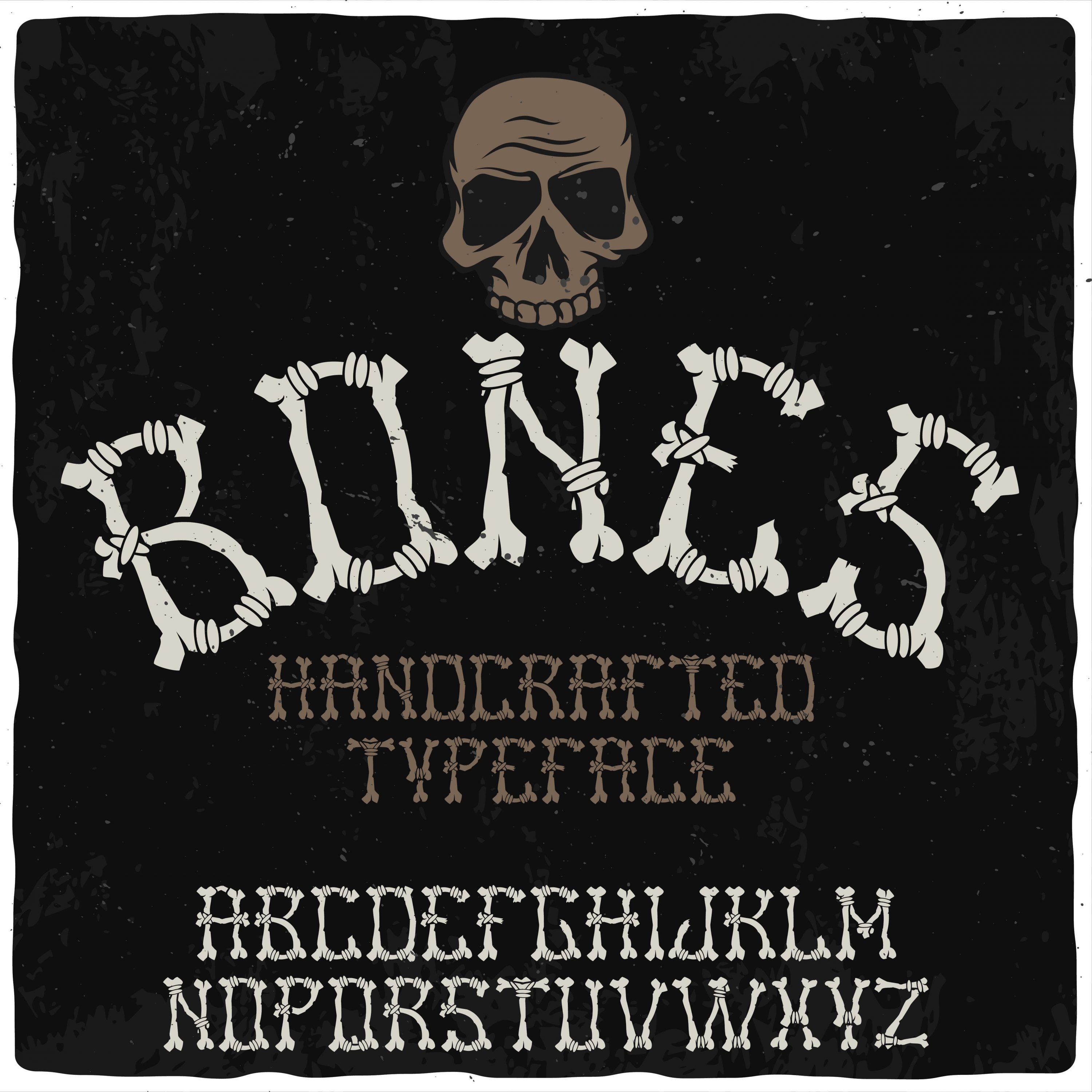 Bones and a skull form the basis of this font.