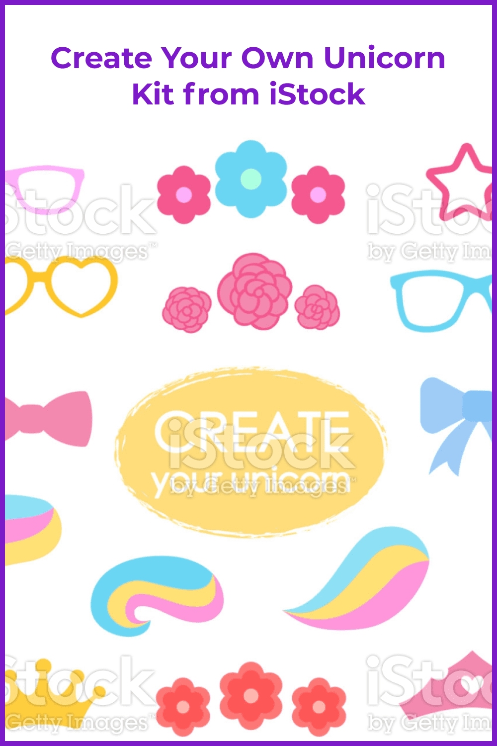 All attributes for creating a beautiful unicorn.