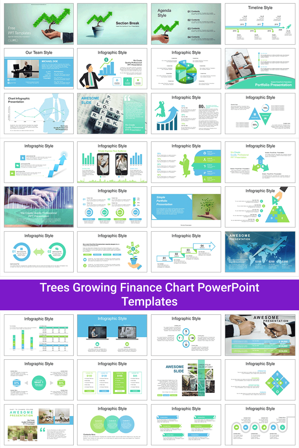 Trees Growing Finance Chart PowerPoint Templates.