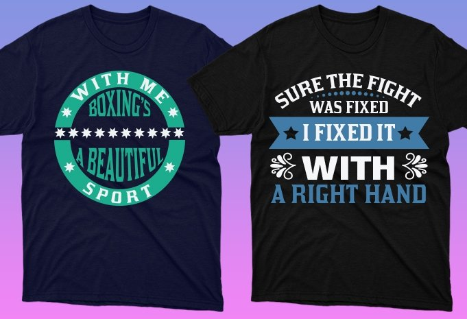 Black t-shirts with graphics in blue and green colors.