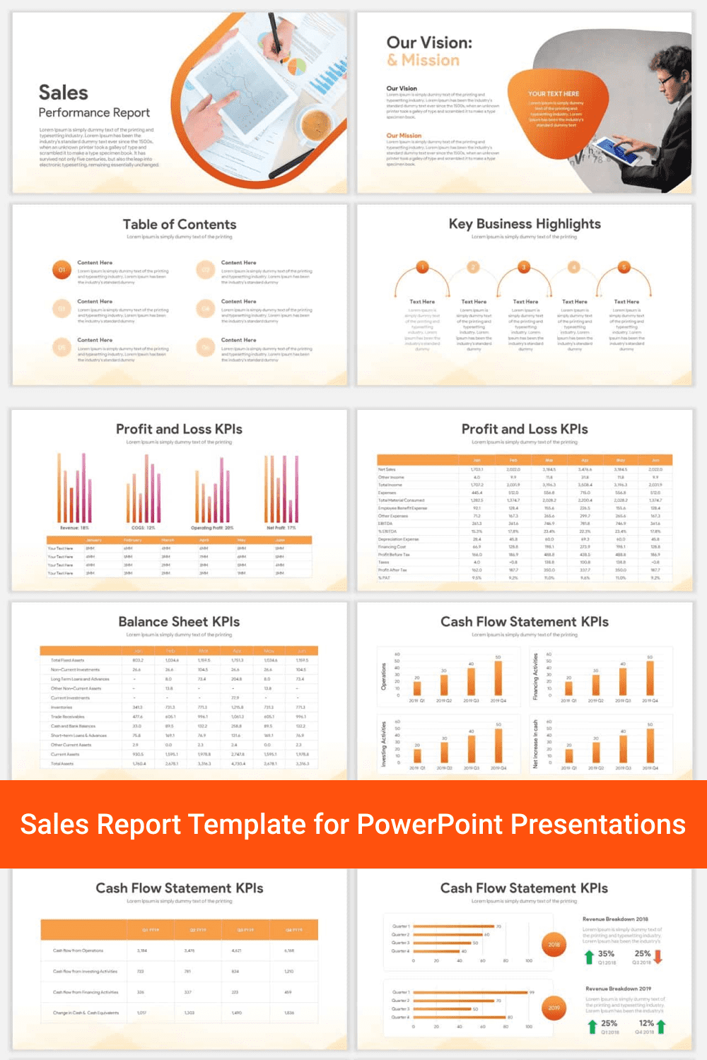 Sales Report Template for PowerPoint Presentations.