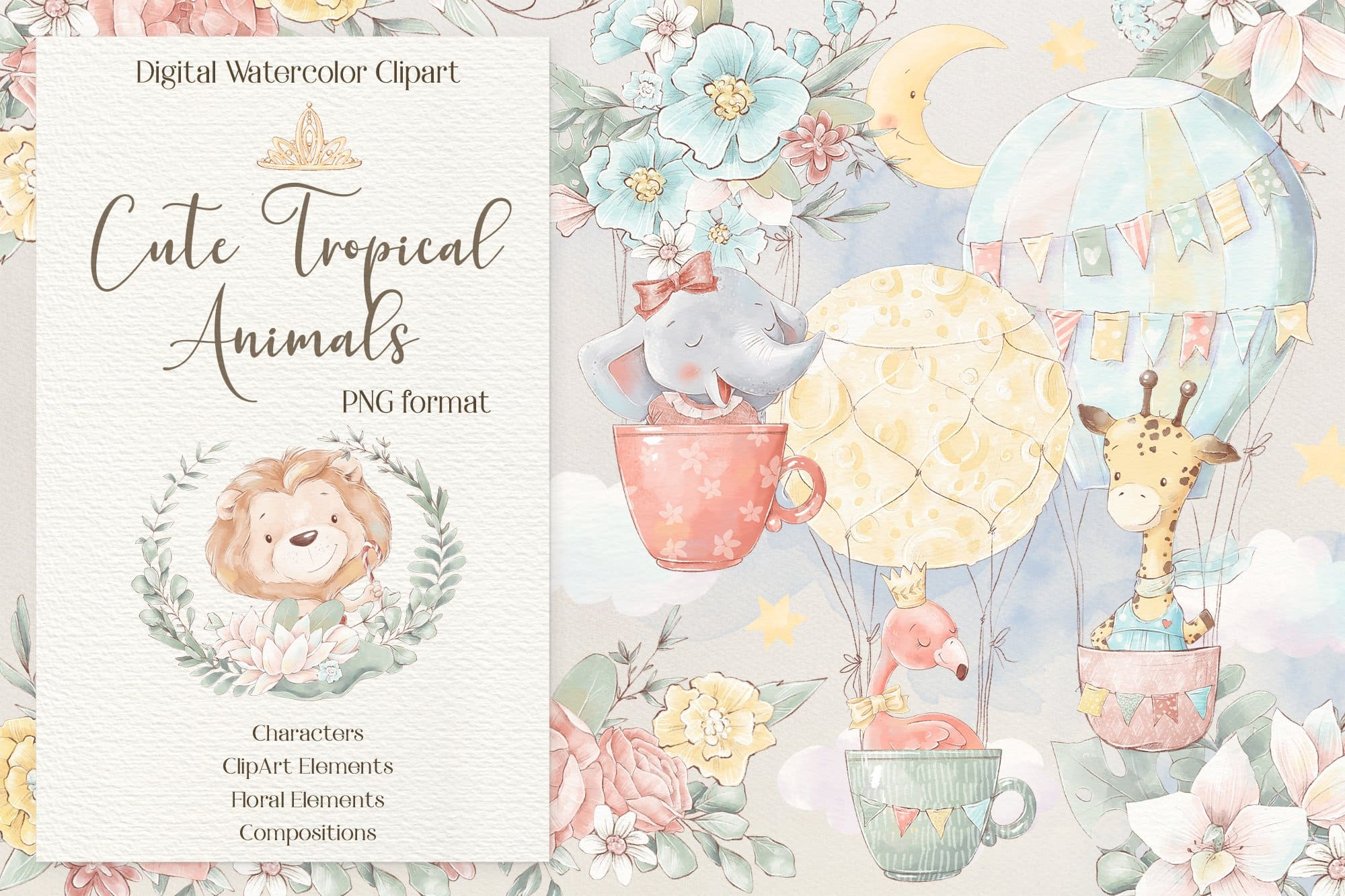Cute tropical animals on the pastel background.