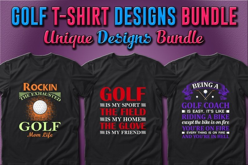 Classic dark T-shirts with bright golf slogans.
