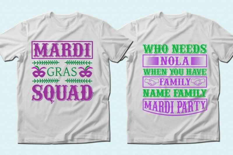 White T-shirts with purple and green lettering.