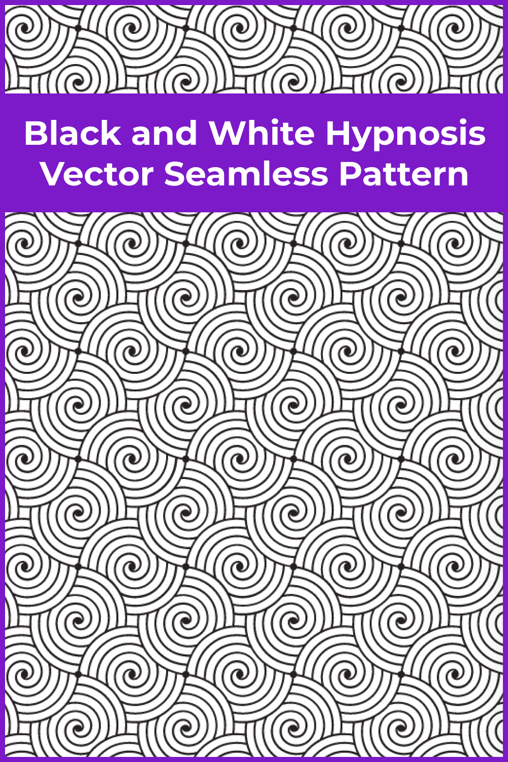 Black and White Hypnosis Vector Seamless Pattern.