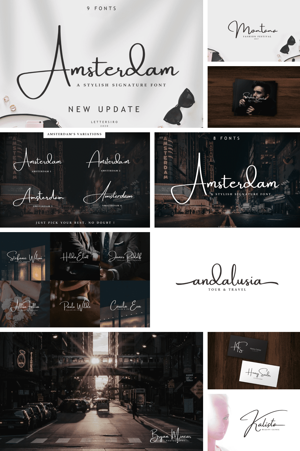 The Amsterdam font is a simple and classy font, comes with elegant variations.