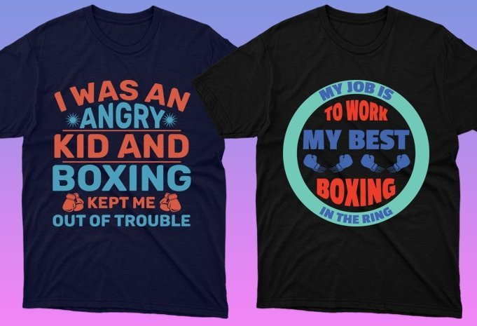 Dark t-shirts with bright phrases about boxing.