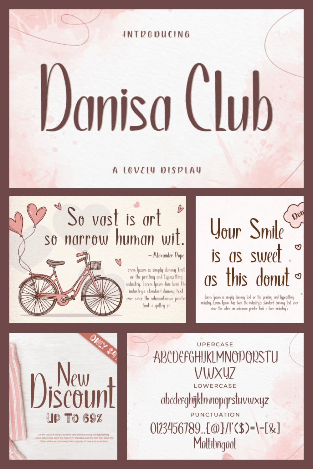 Danisa Club Cheer Font is a tall and classic script font. This font can be used for products such as baby designs, crafts, product packaging, and so on.