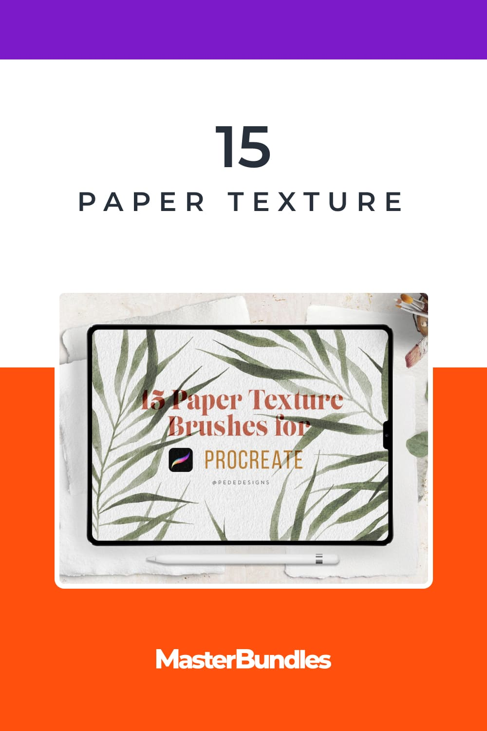 15 Paper Texture Brushes for Procreate, add realism into your digital art.