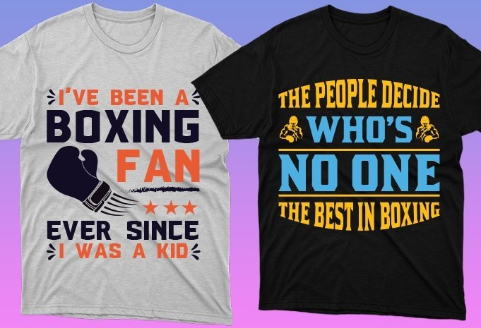 Two t-shirts in different colors with high-quality graphics in bright tone.