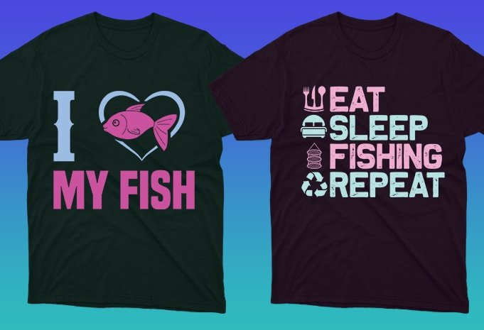 Fish in heart shape and themed phrase.
