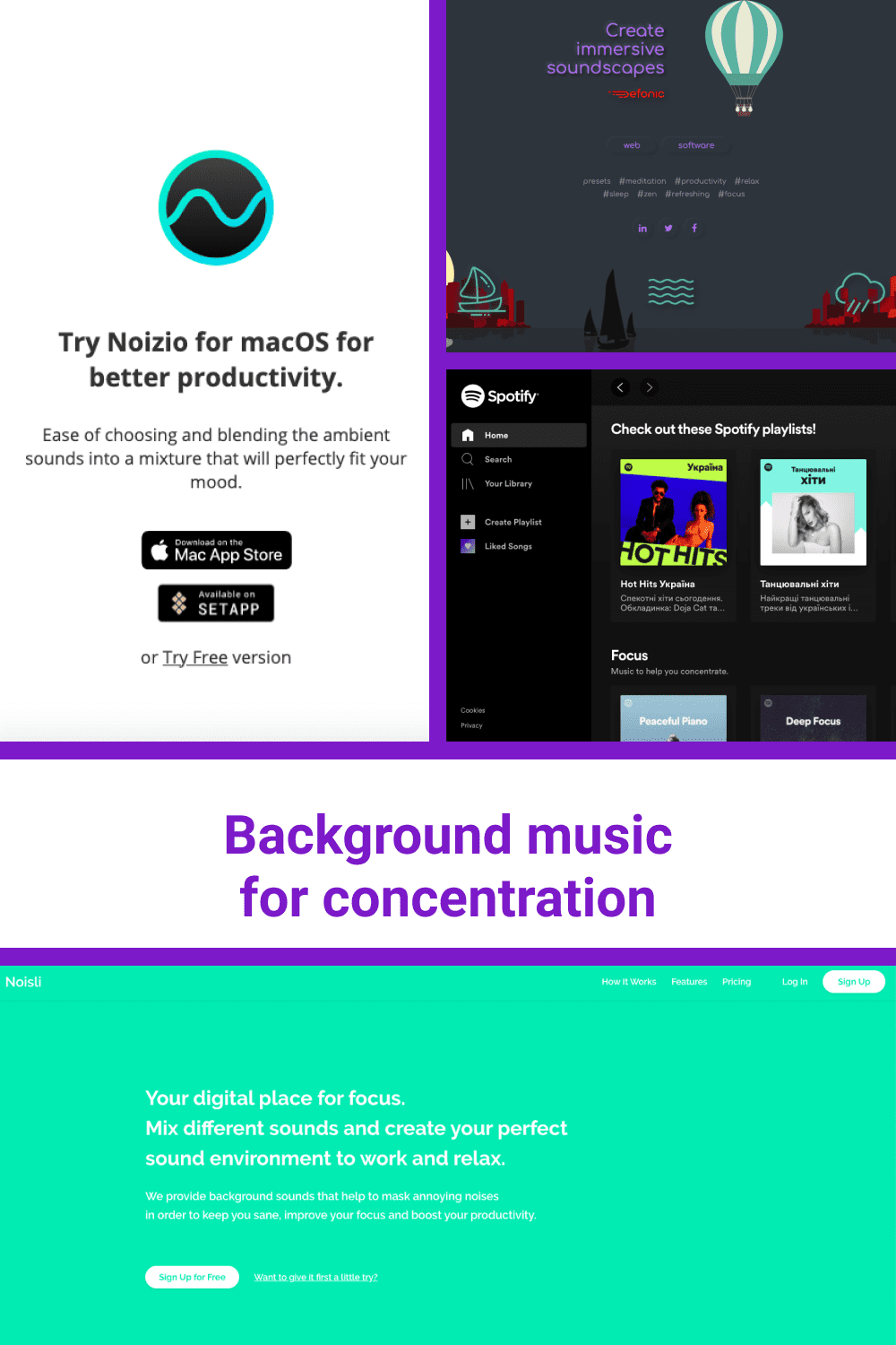 Background music for concentration.