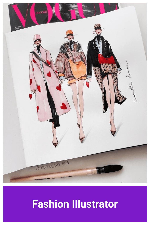 Fashion Illustrator in vogue style.
