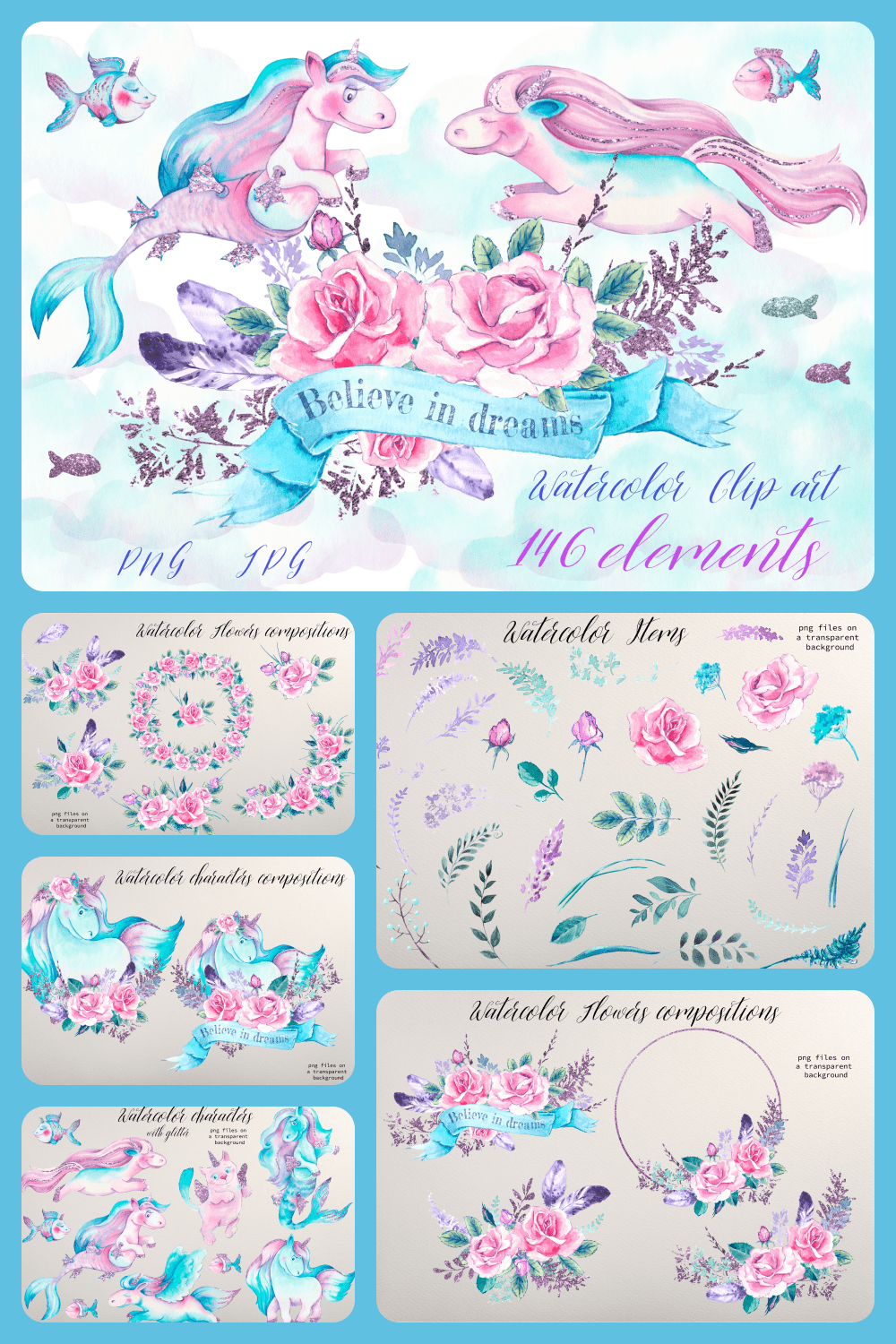 Delicate unicorn style in blue color with flowers and fish.