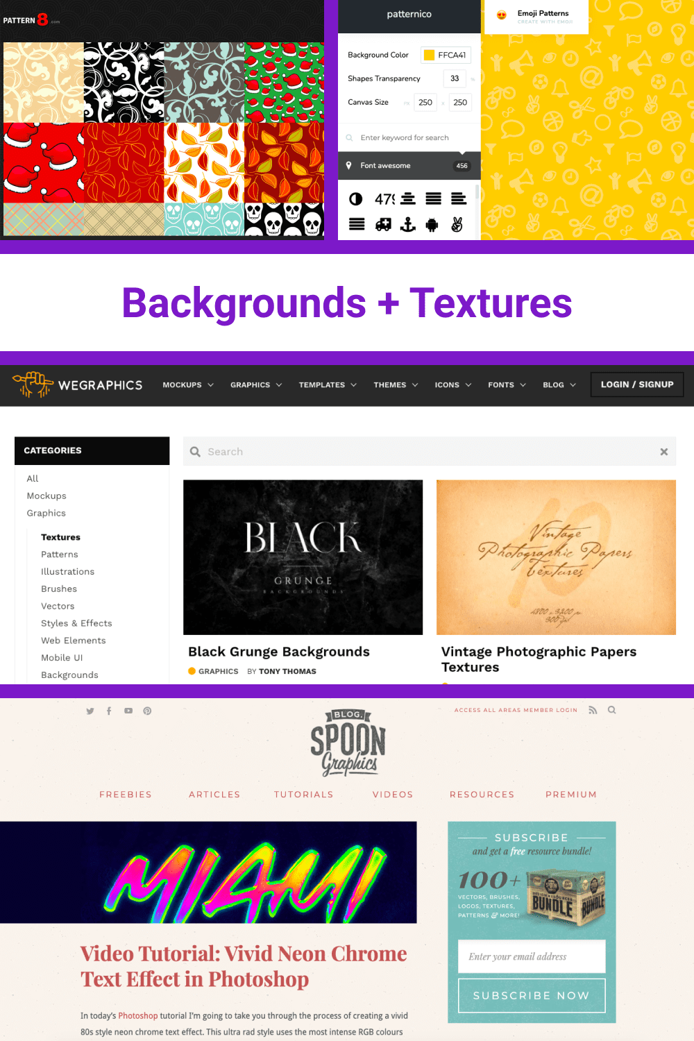 A big collection of backgrounds and textures.