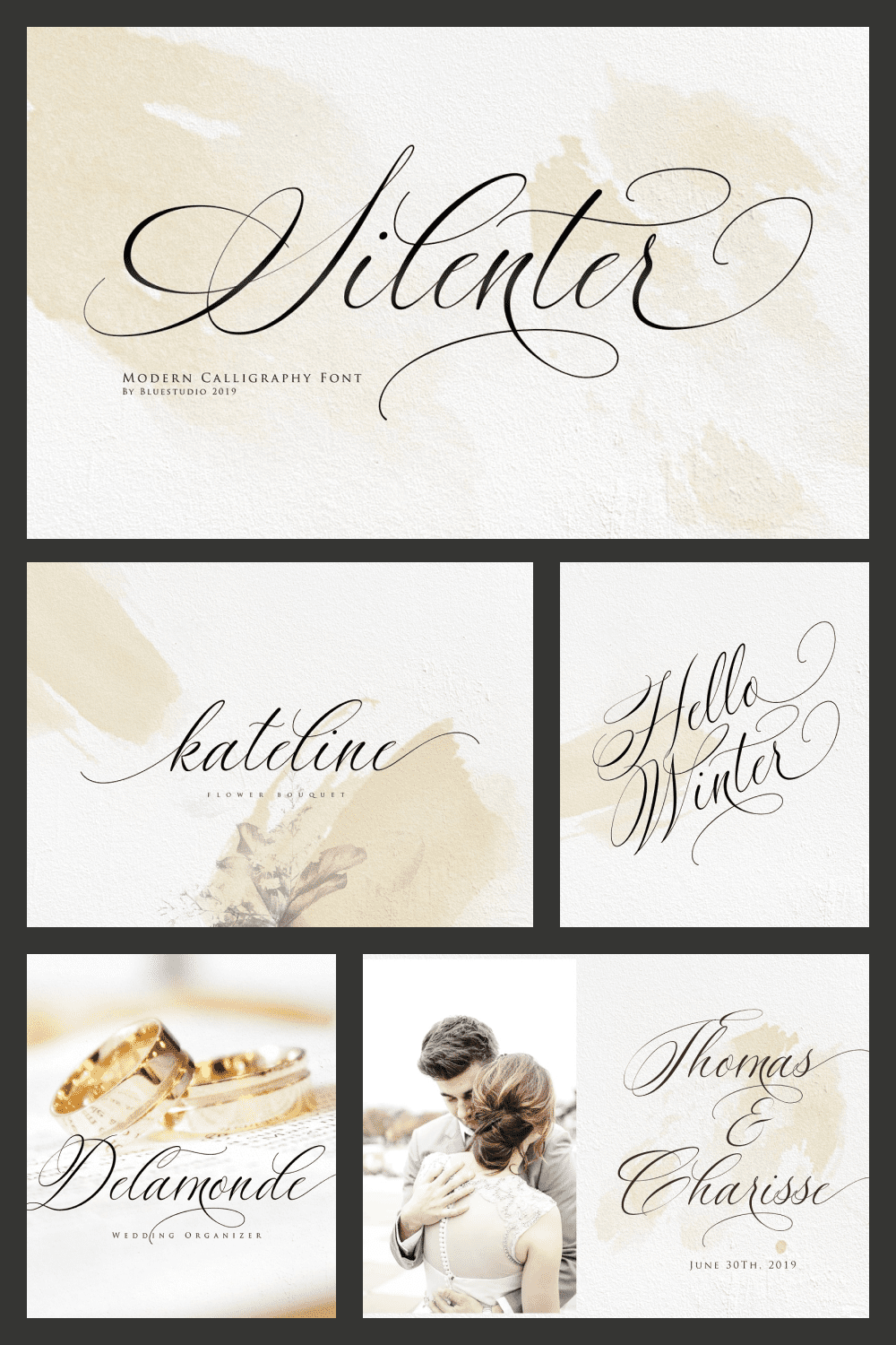 Silenter is suitable for all your design project needs such as: logo design, branding, covers, posters, magazines, wedding invitations, greeting cards, quotes and more.