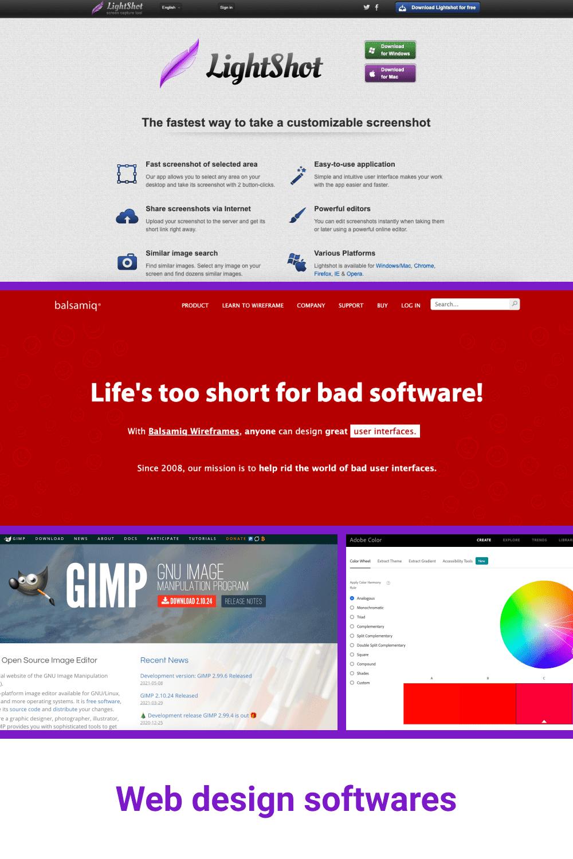 Web design softwares.