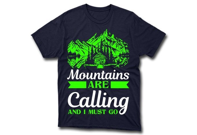 Green mountains on the background of a blue t-shirt.