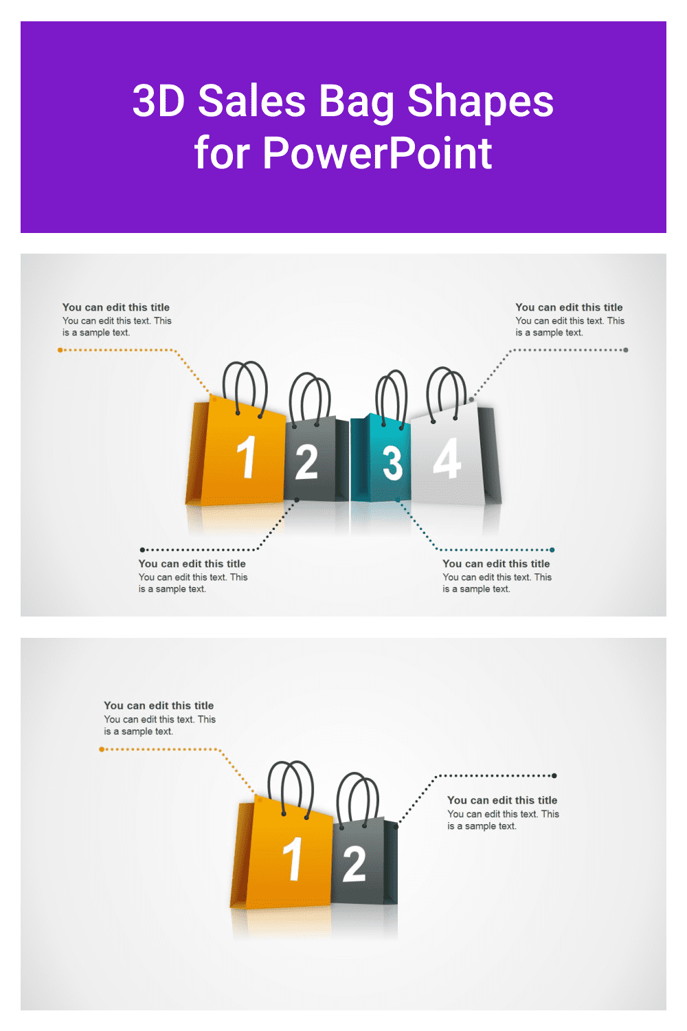 3D Sales Bag Shapes for PowerPoint.