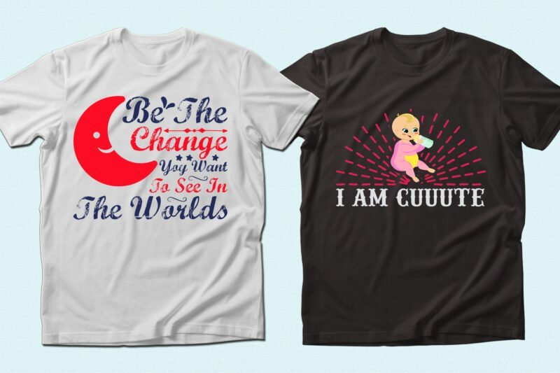 Two t-shirts with motivated phrases and baby image.
