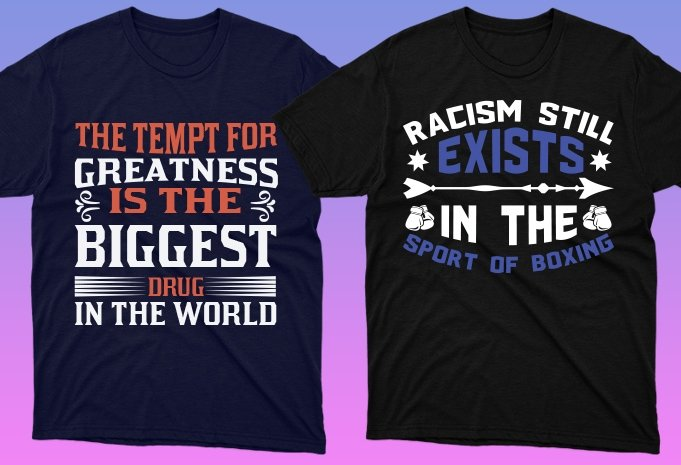 Dark t-shirts with themed letterings.