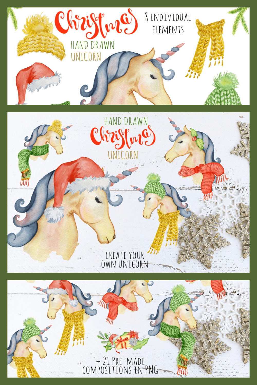Watercolor Christmas unicorn.