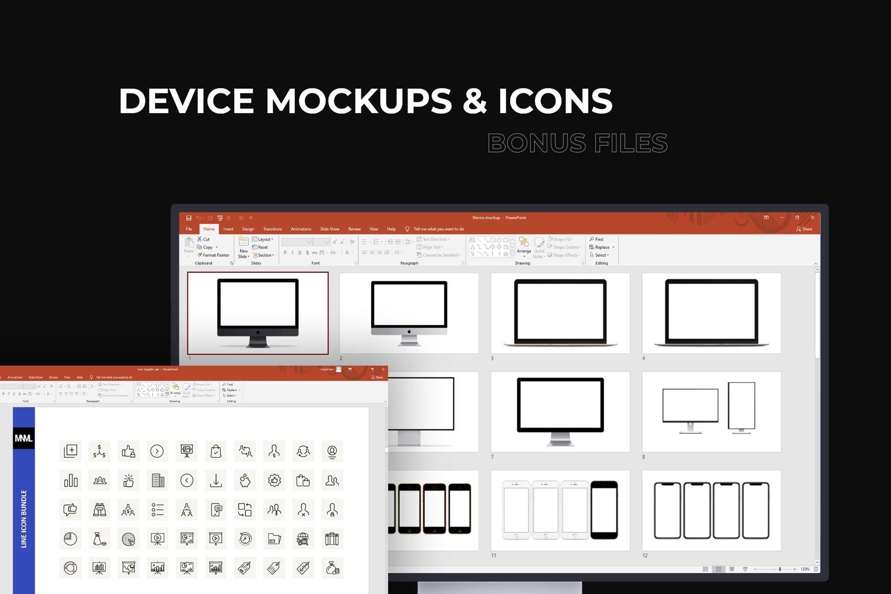 You will have a bonus - device mockups and icons.