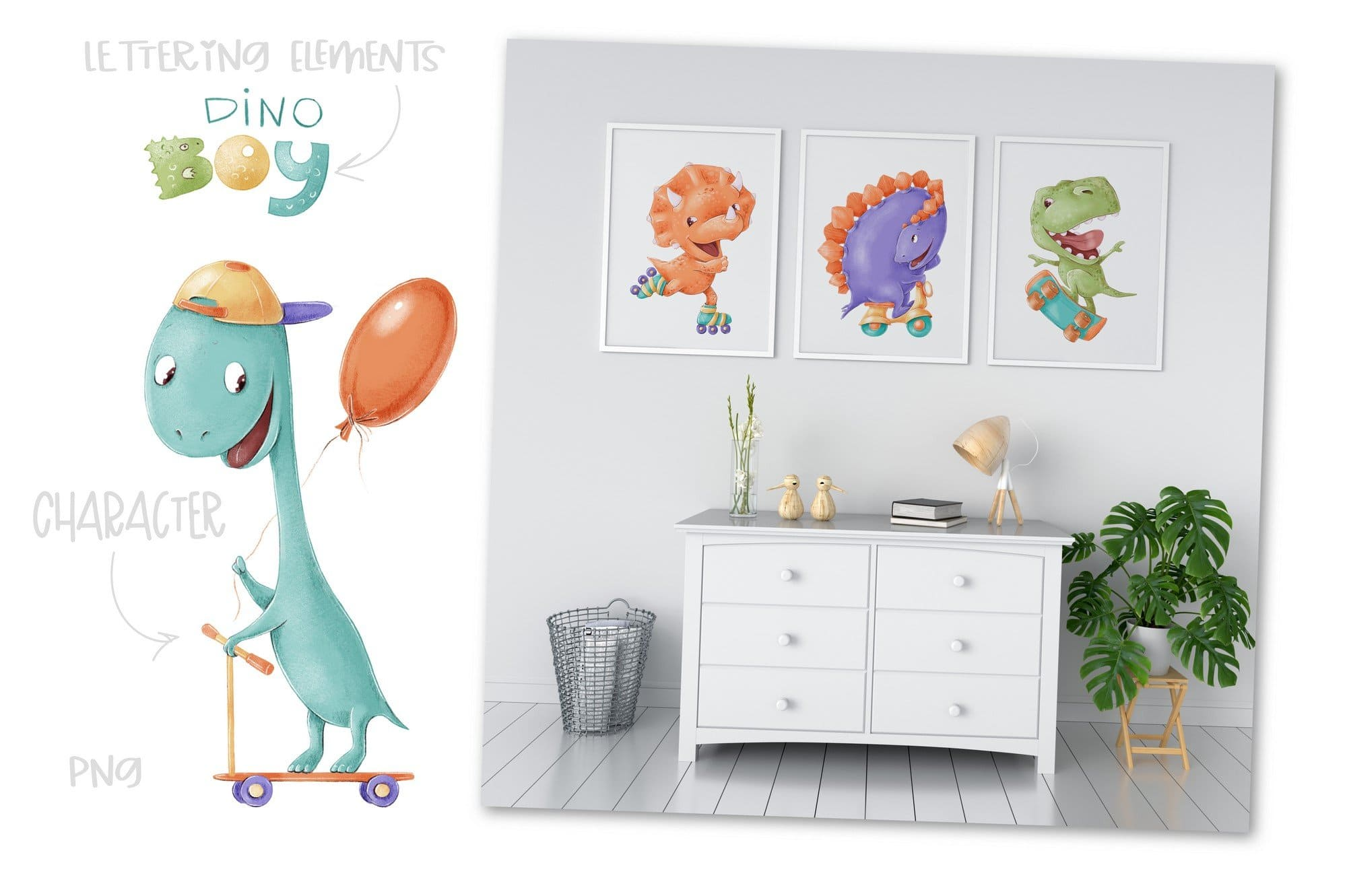 Colorful and sweet dino boys posters.