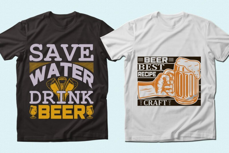 Clever phrase about beer and themed picture.