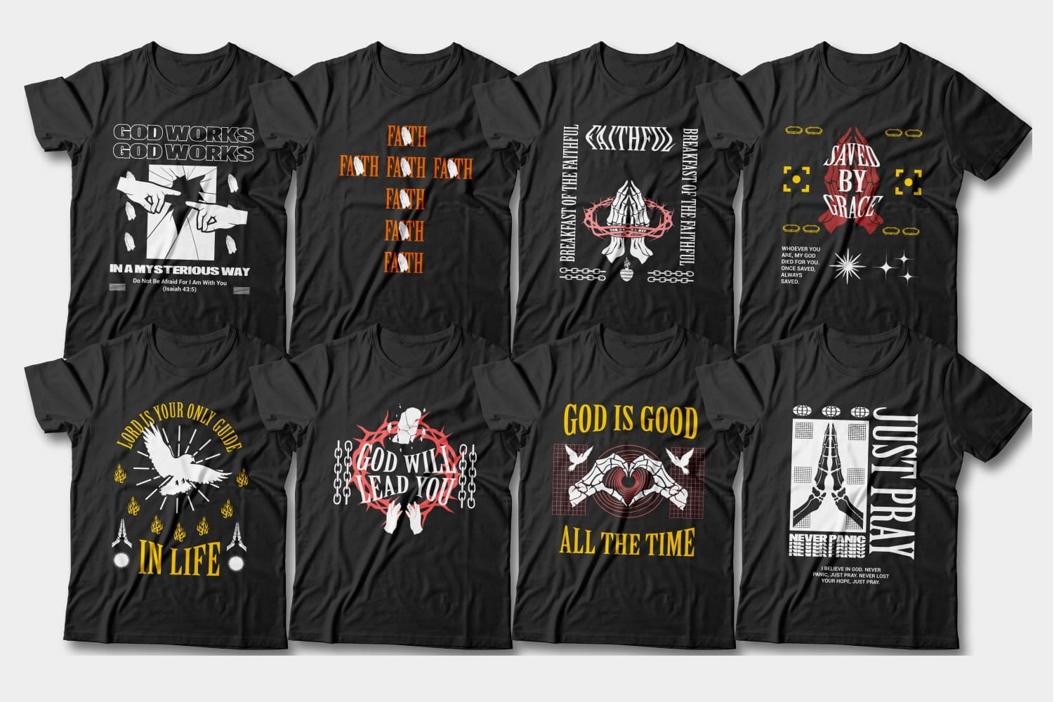 All black t-shirts with colorful lettering and pictures.