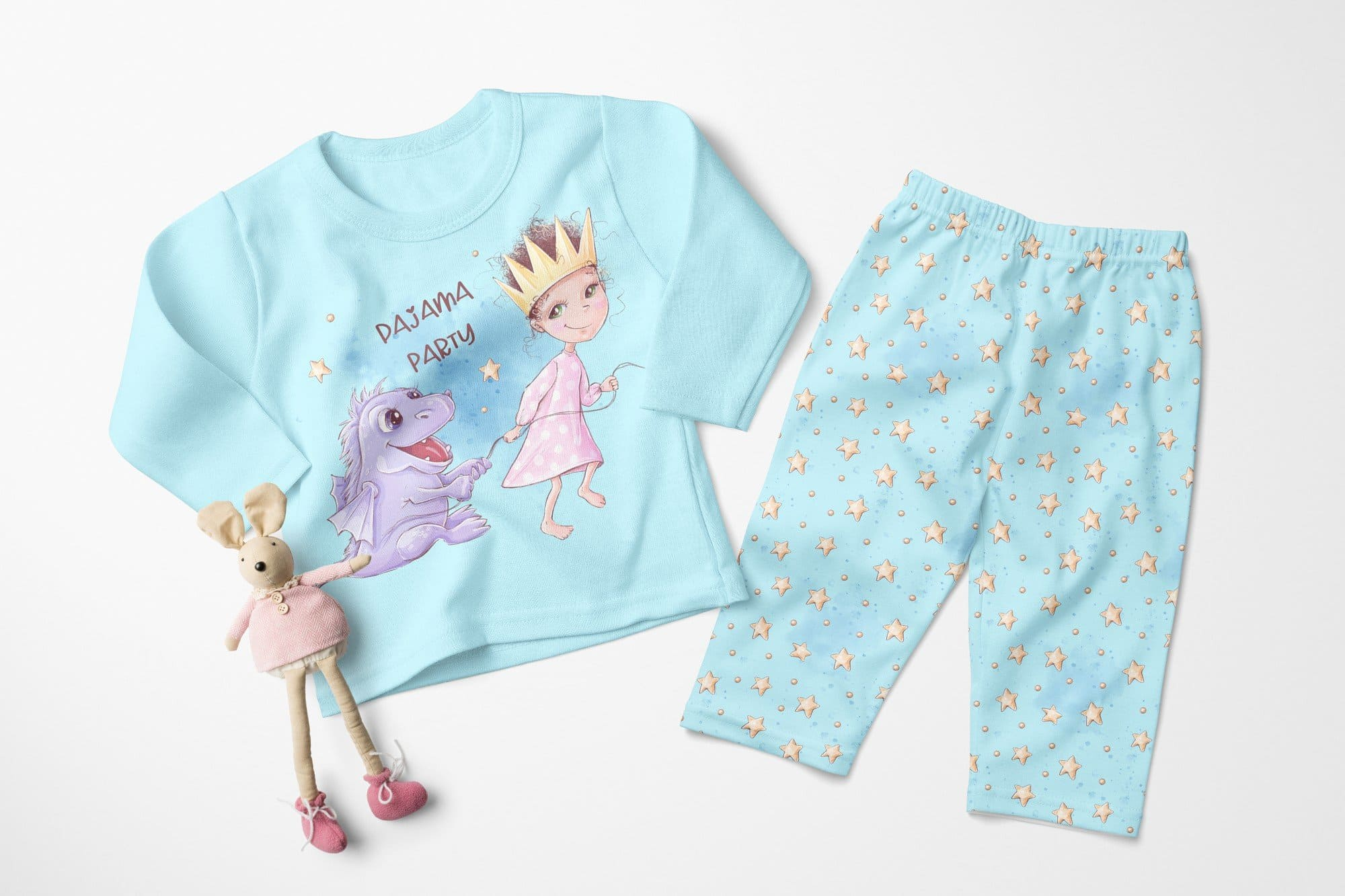 Cute blue pajama.
