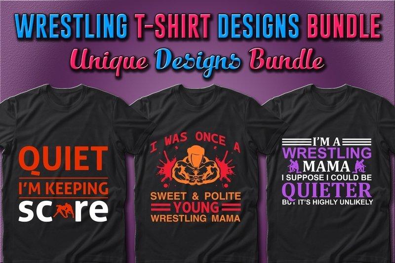 Dark T-shirts with bright wrestling slogans.